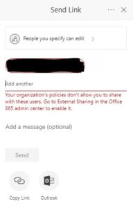 sharepoint sharing error your organization's policies don't allow you to share with these users