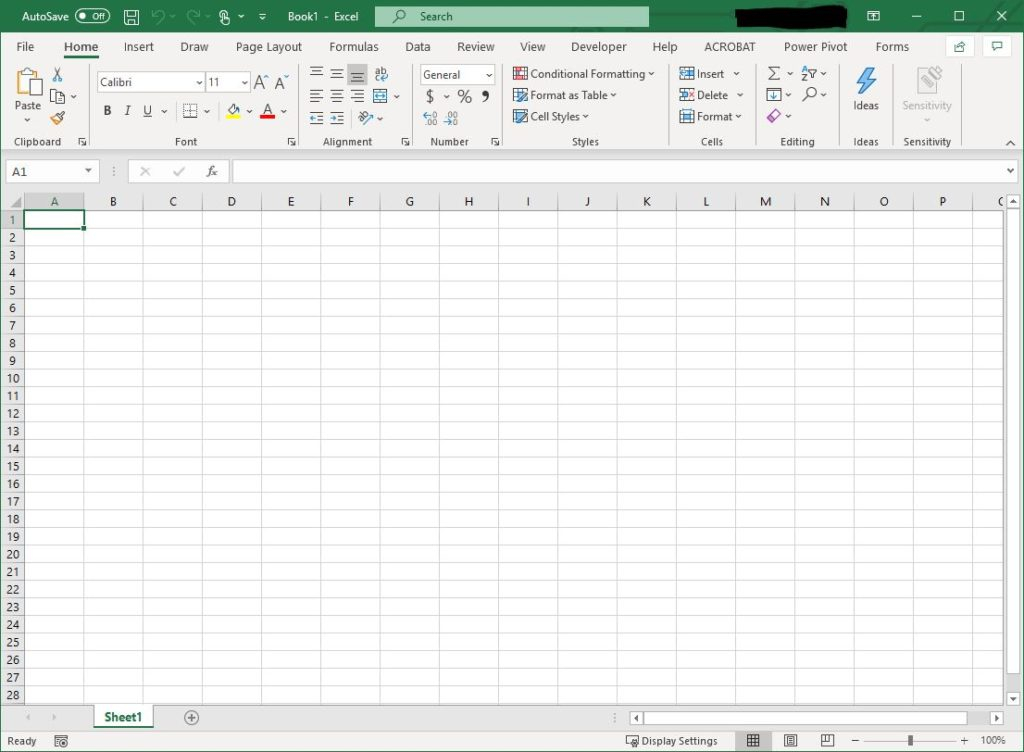 new search box at top of excel window